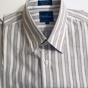 FACONNABLE BEAUTIFUL SHIRT BEIGE & BROWN STRIPES
